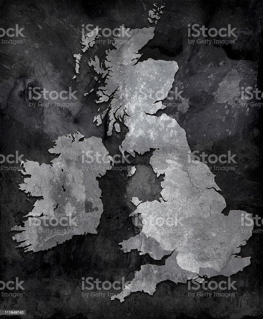 Slate map of the British Isles stock photo