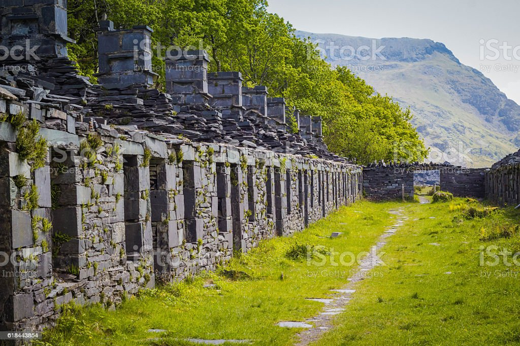 Slate Miners Cottages stock photo