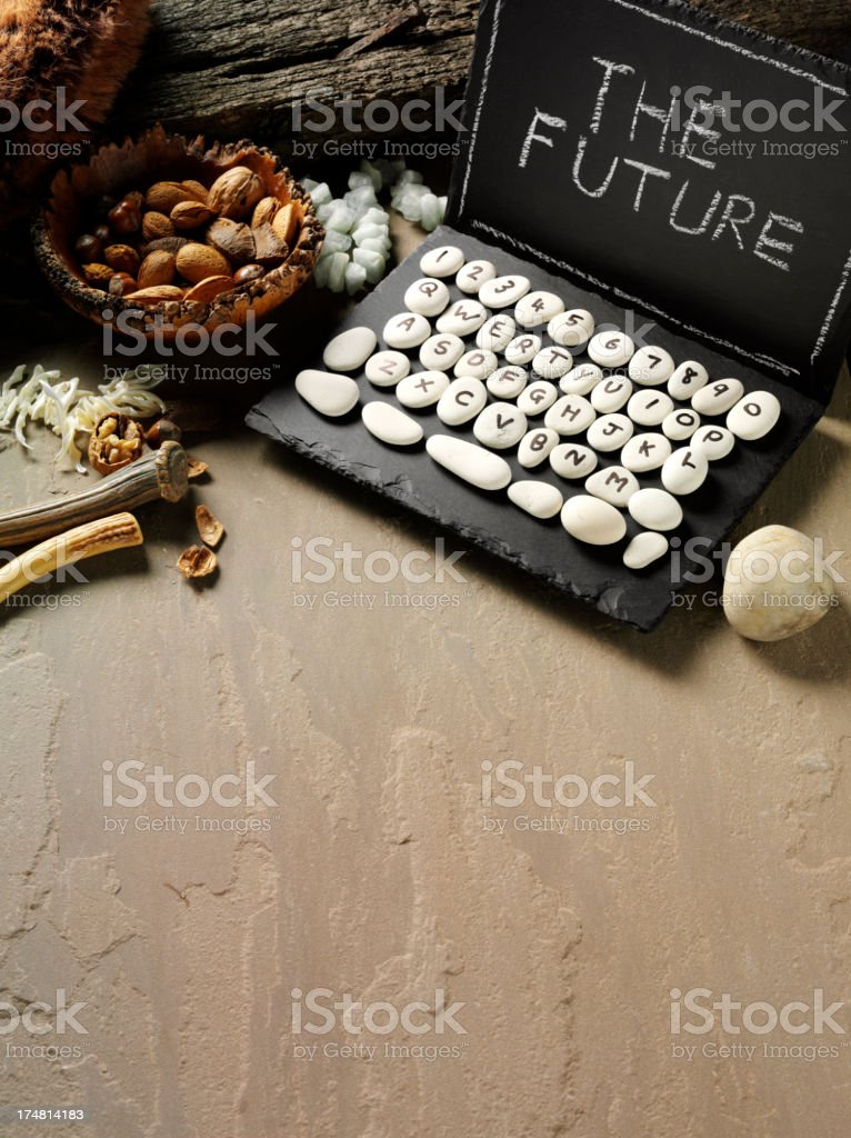 Slate Prehistoric Computer with The Future stock photo
