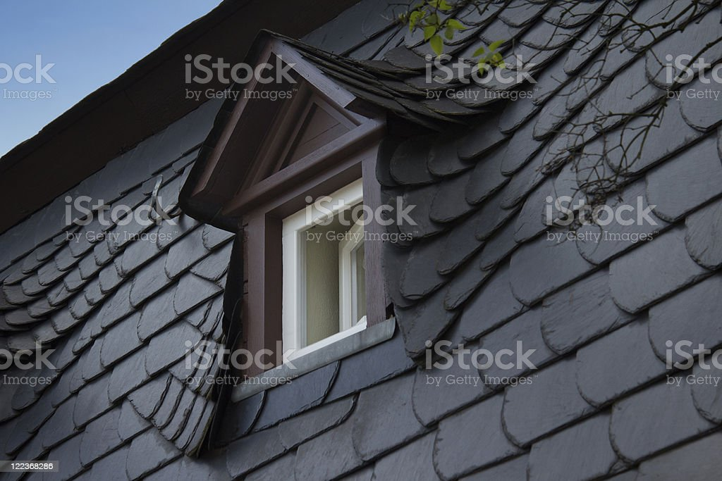 Slate roof at the Mosel region, Germany stock photo
