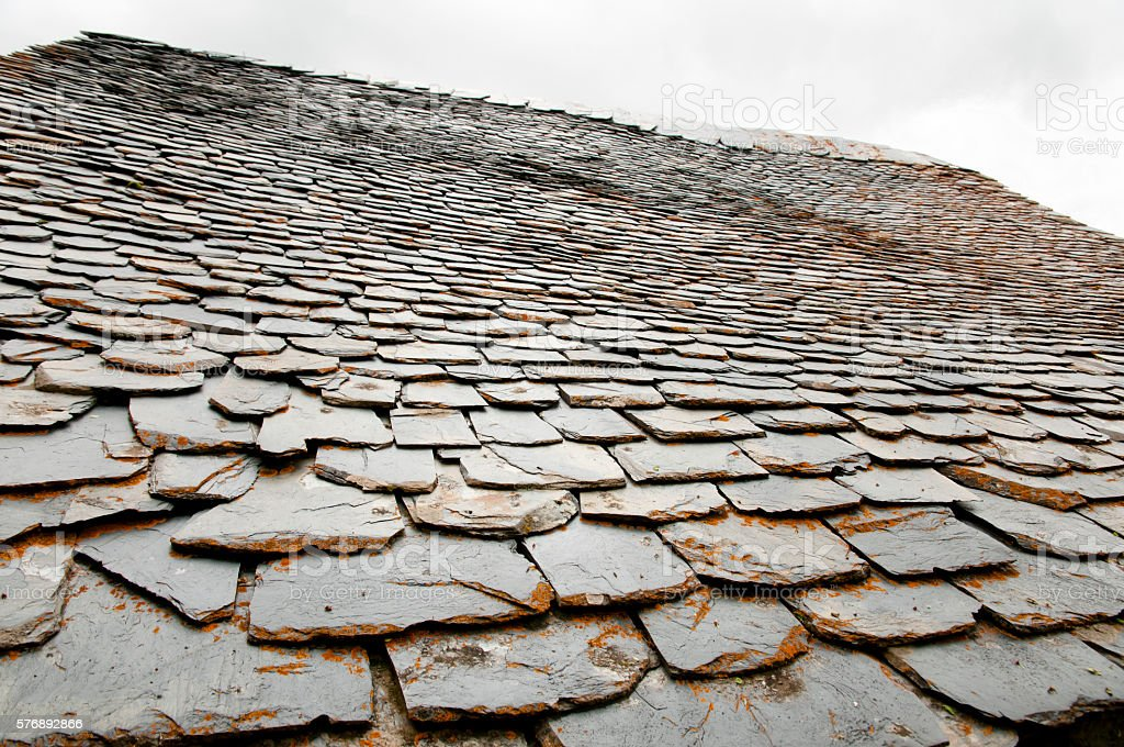 Slate Roof - Taull - Spain stock photo