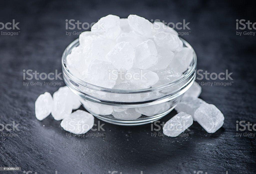 Slate slab with rock sugar stock photo