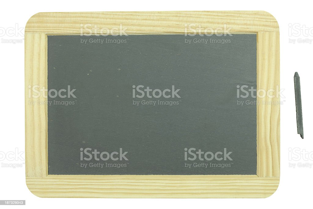 Slate tablet and pencil stock photo