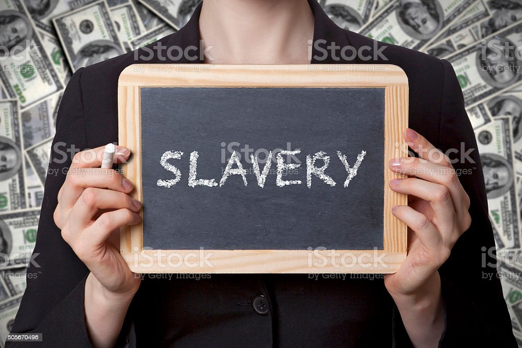 slavery black board stock photo