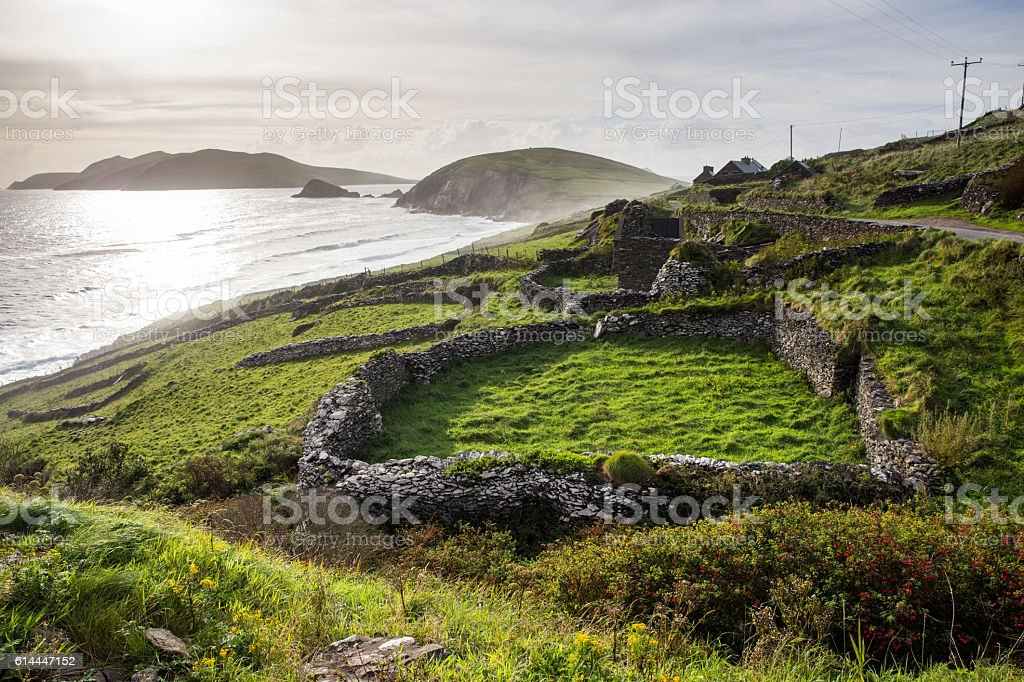 Slea Head ruins stock photo