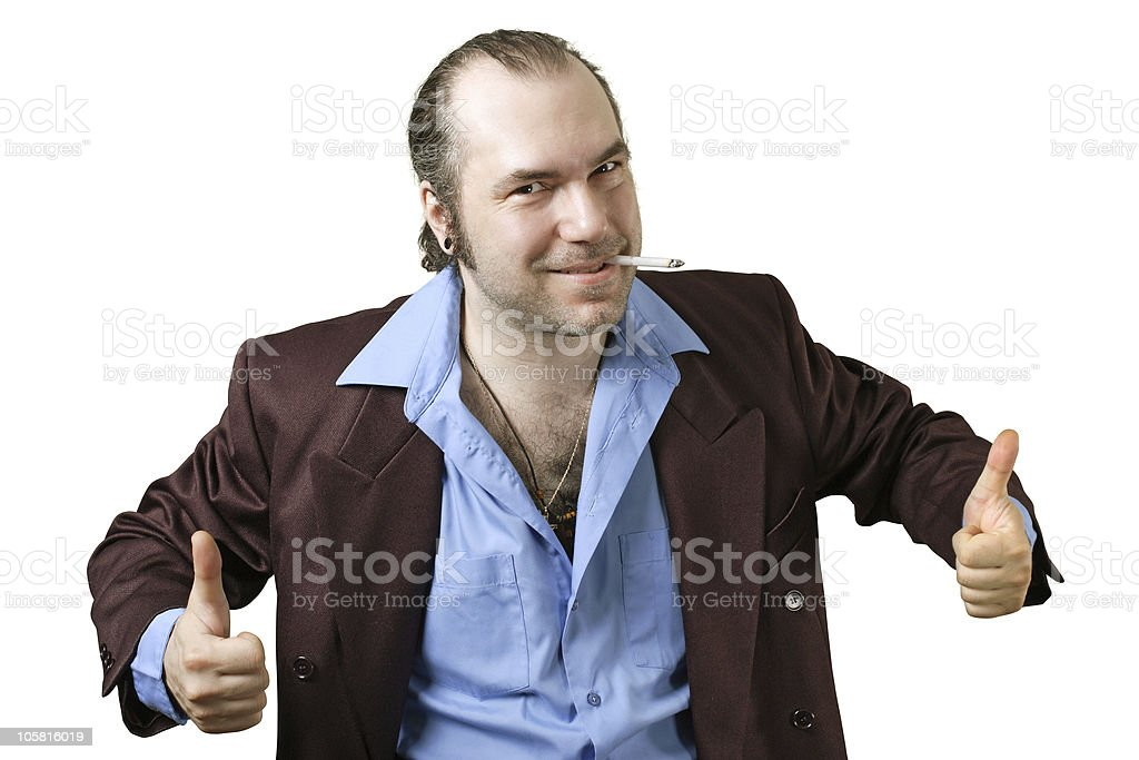 Sleazy guy two thumbs up stock photo