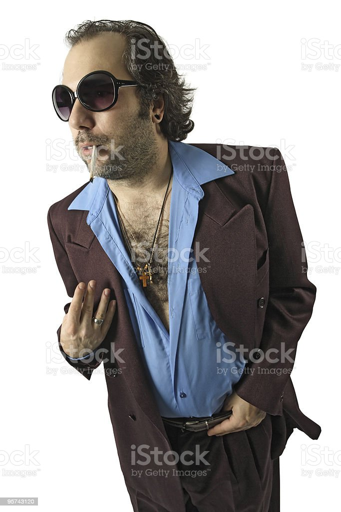 Sleazy guy with sunglasses stock photo