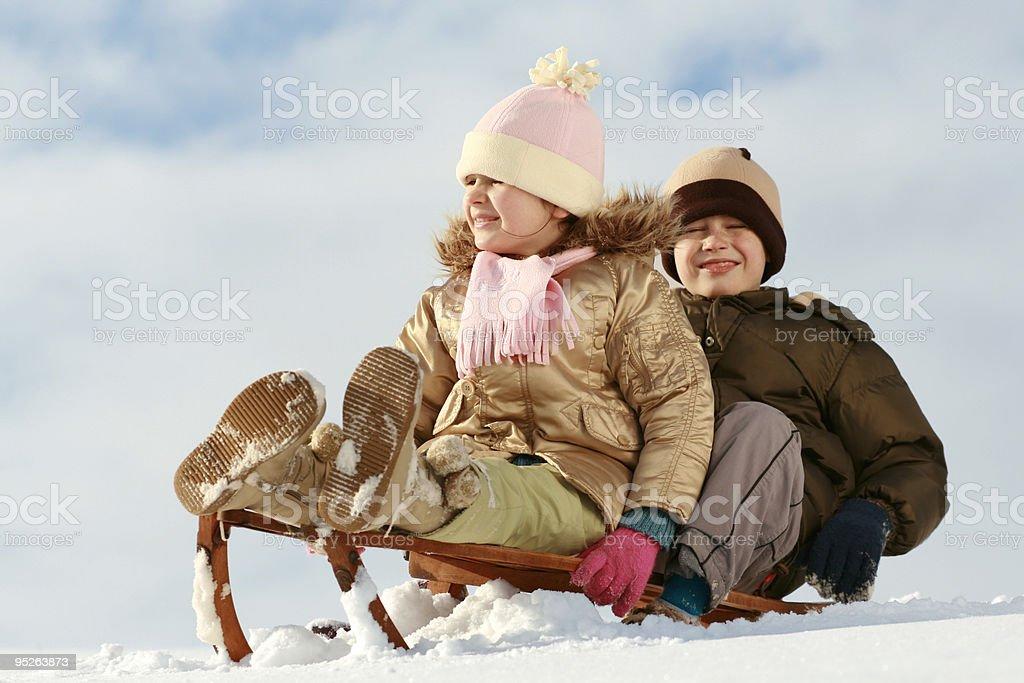 sled & children royalty-free stock photo
