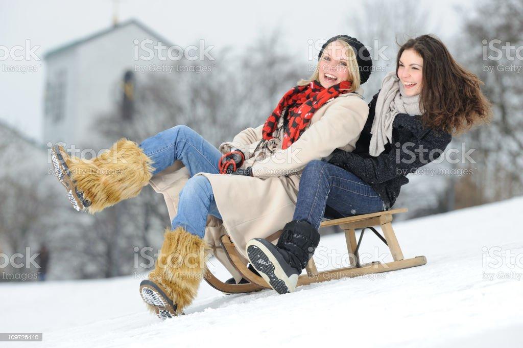 Sled Fun, Winter Leisure royalty-free stock photo