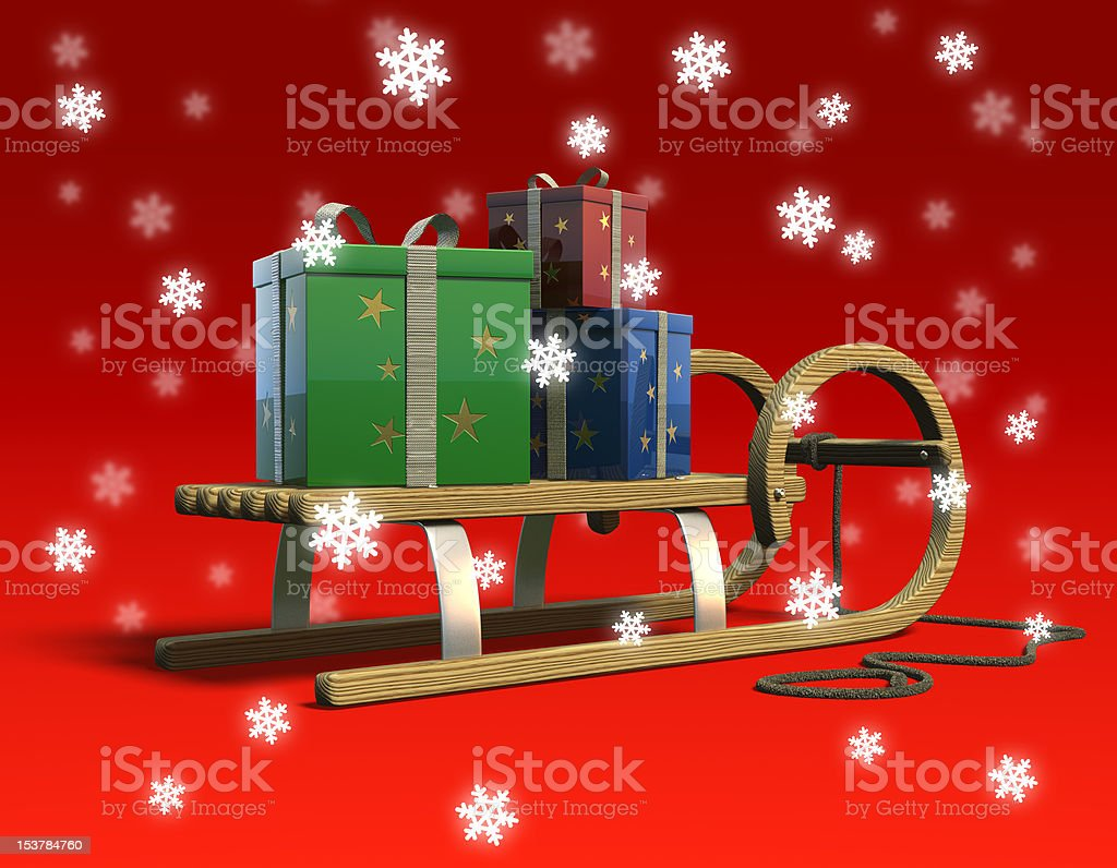 Sled with presents and snowflakes, rear. royalty-free stock photo