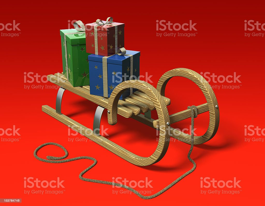 Sled with presents, front royalty-free stock photo