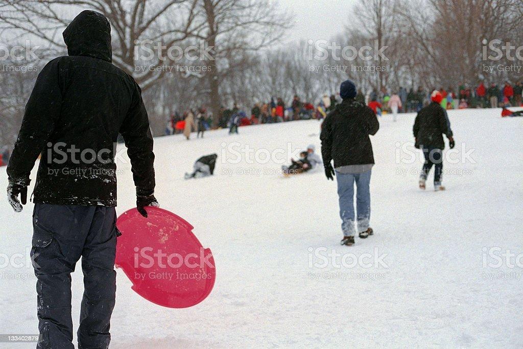 Sledding in Prospect Park stock photo