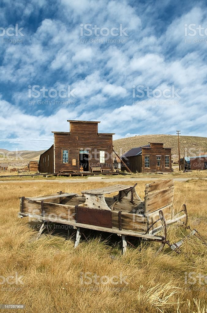 Sledge in ghost town stock photo