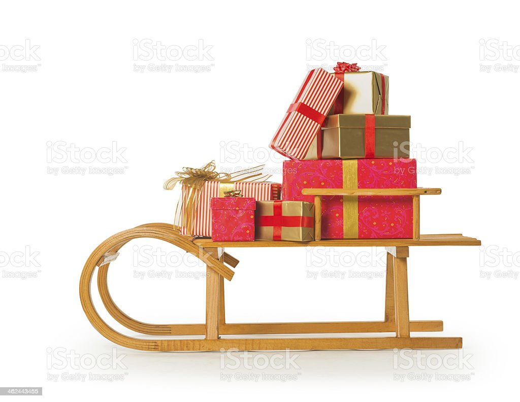 Sledge with Christmas presents on white background stock photo
