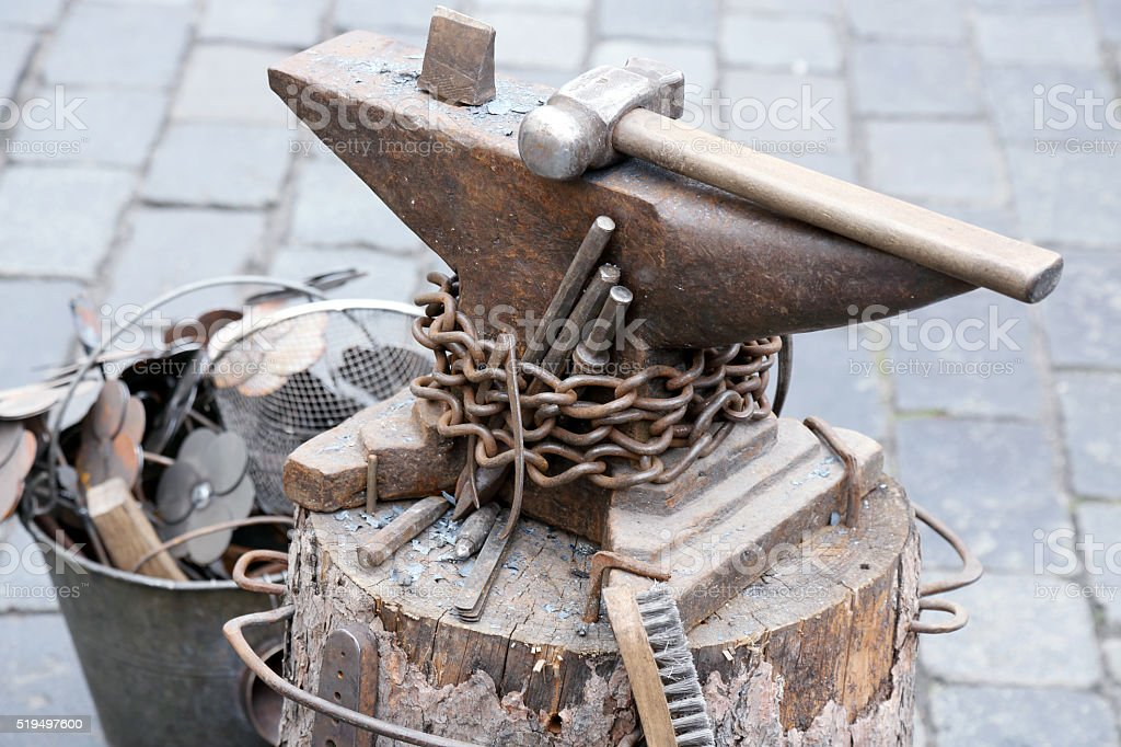 Sledgehammer and Anvil stock photo