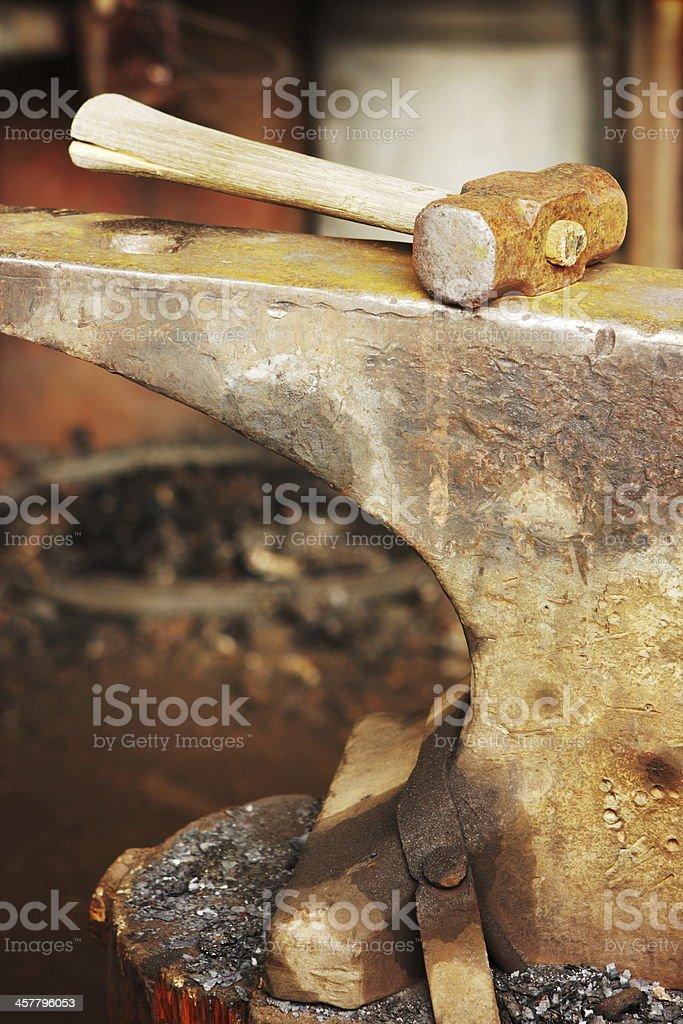 Sledgehammer Anvil Blacksmith Workshop Tools royalty-free stock photo