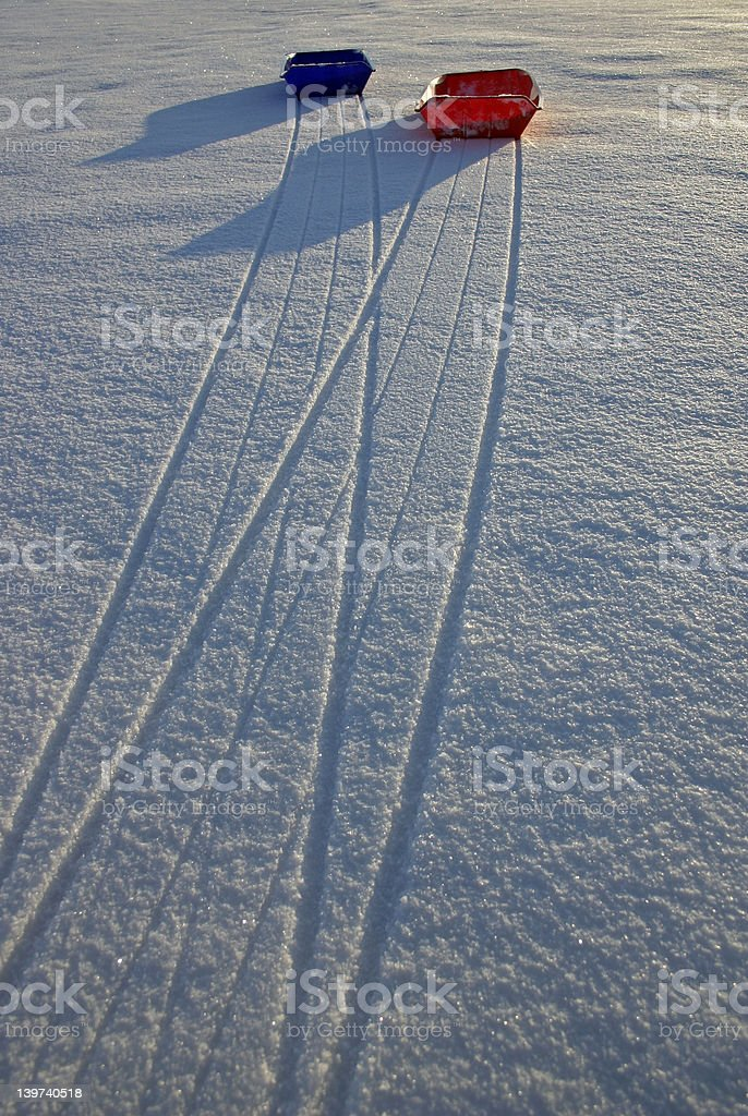 Sleds on snow (1) royalty-free stock photo