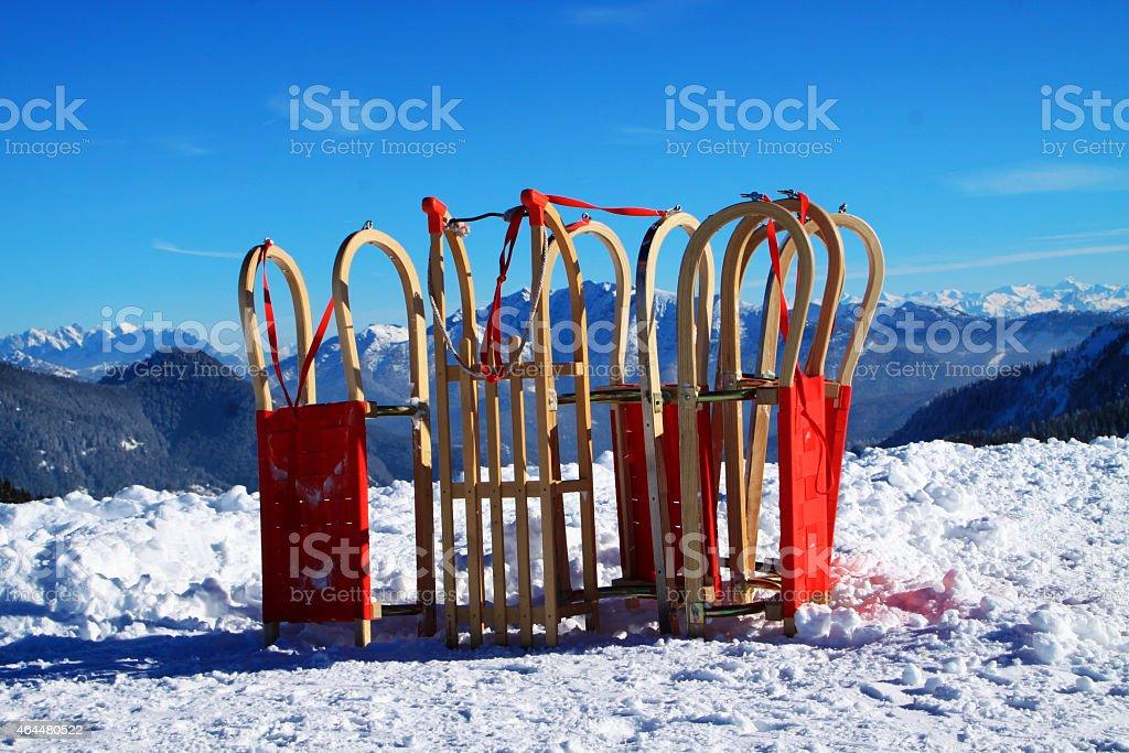 Schlitten, Schnee und Berge stock photo