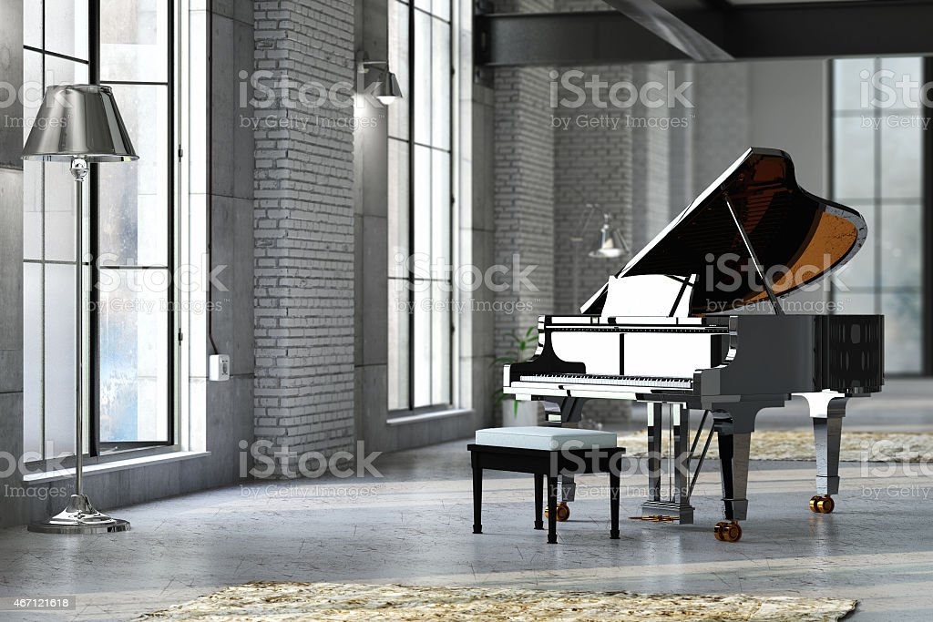 Sleek black grand piano in well lit room stock photo