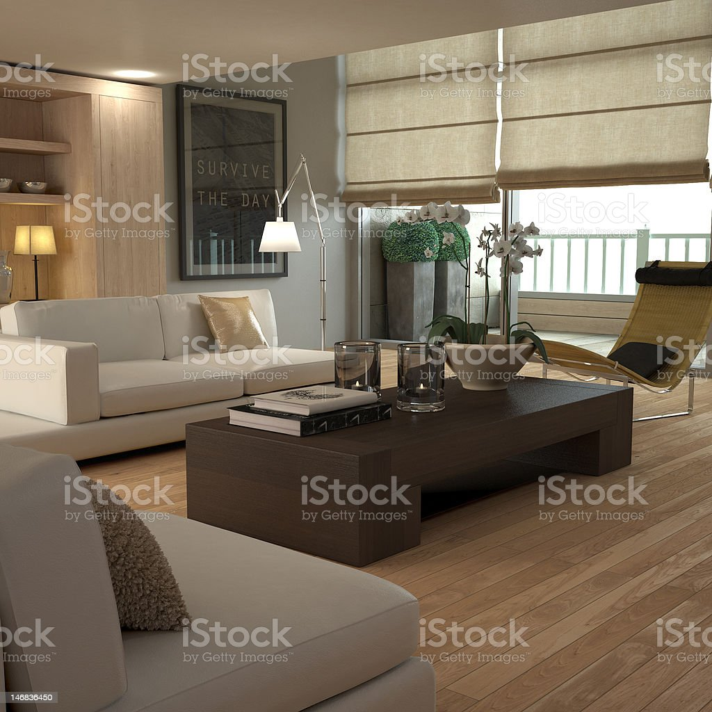 Sleek contemporary beige interior of house stock photo
