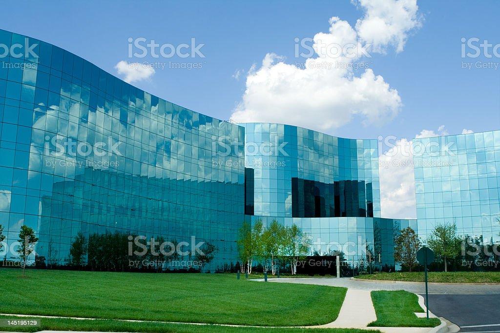 Sleek, Funky Mirrored Office Buildings Suburban Maryland, USA, Blue Sky royalty-free stock photo