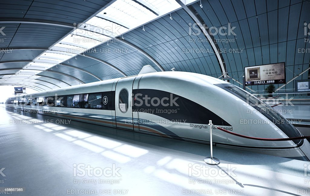 Sleek futuristic train in Shanghai, China stock photo