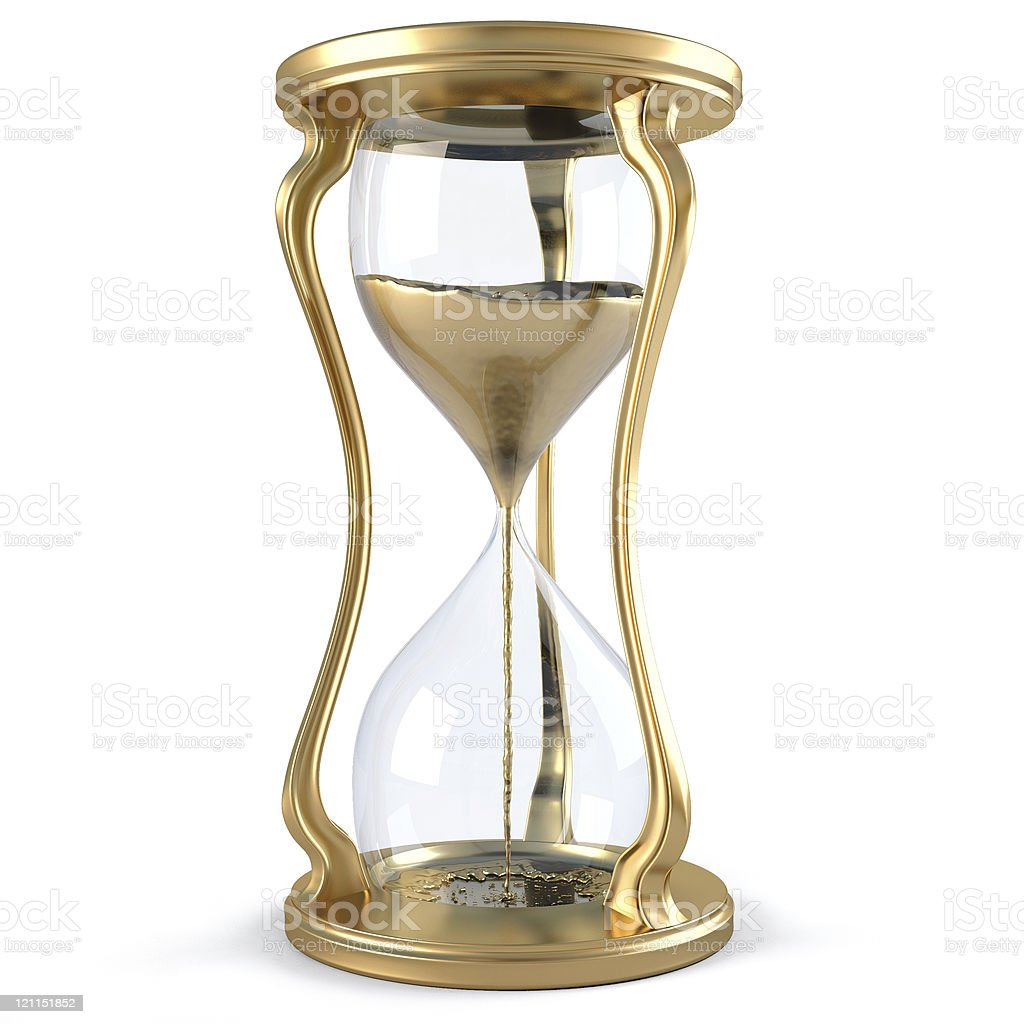 Sleek, golden hourglass with golden sand inside royalty-free stock photo