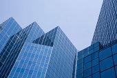 Sleek modern angled office building, Montreal Canada