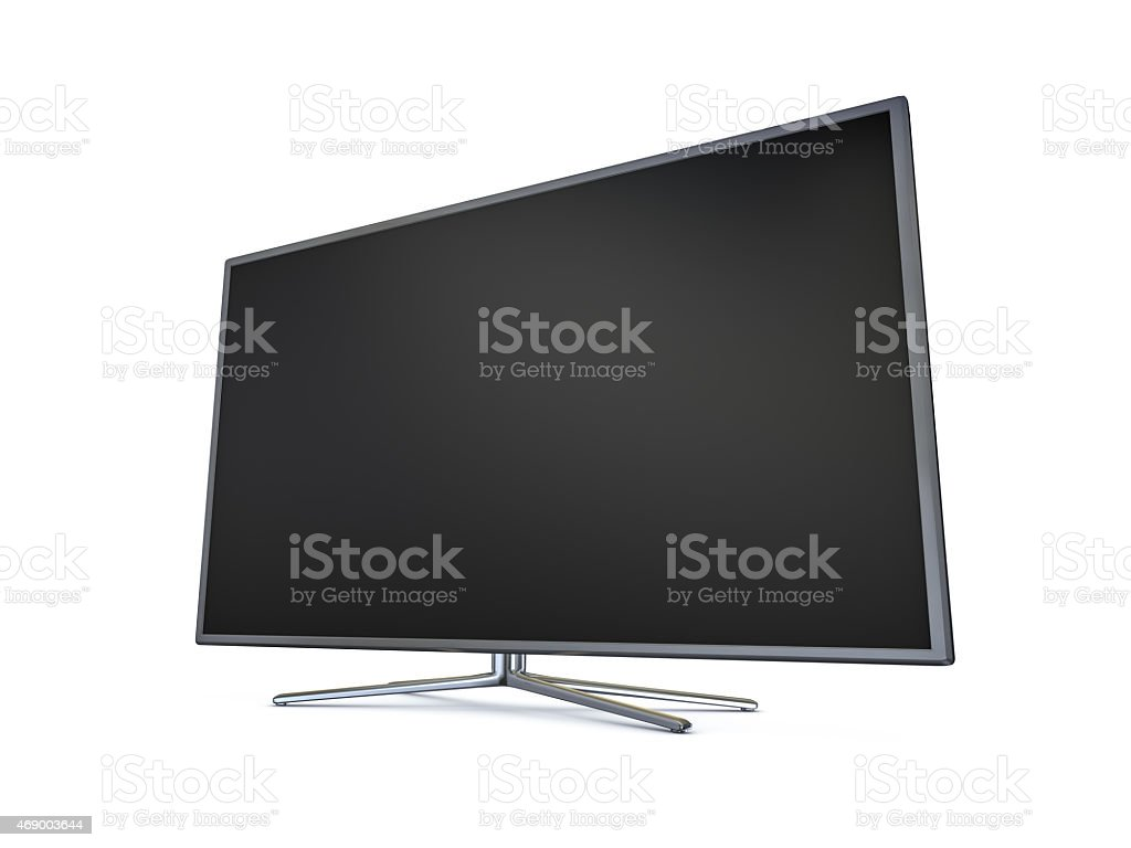 A sleek thin monitor with a blank screen stock photo