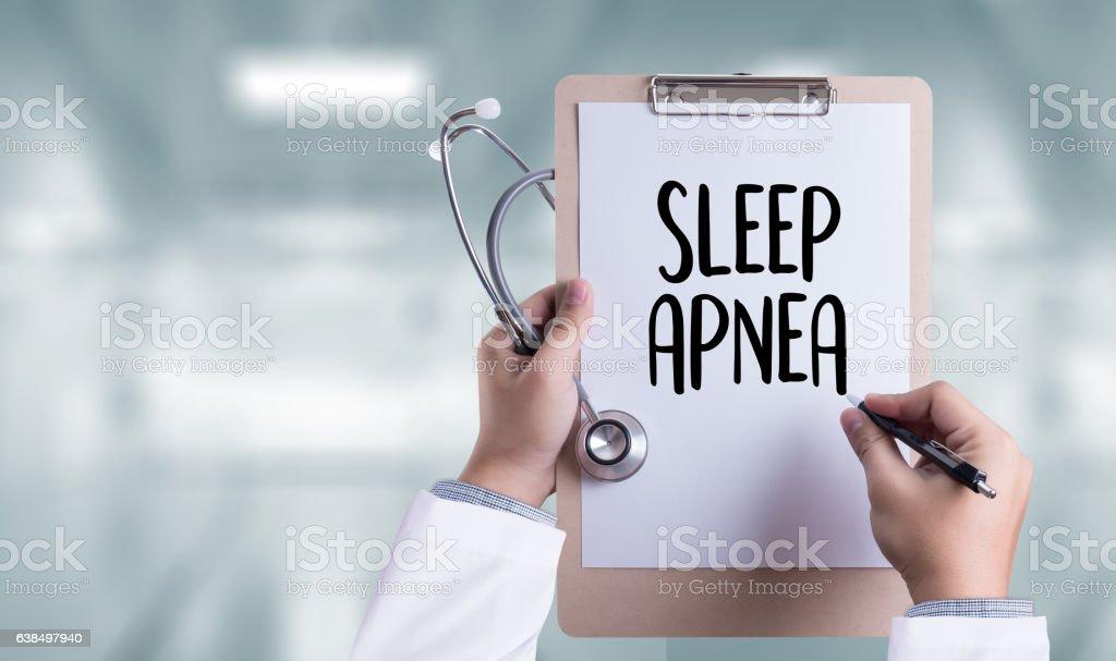 sleep apnea using CPAP , machine SLEEP APNEA  , Diagnosis Sleep stock photo