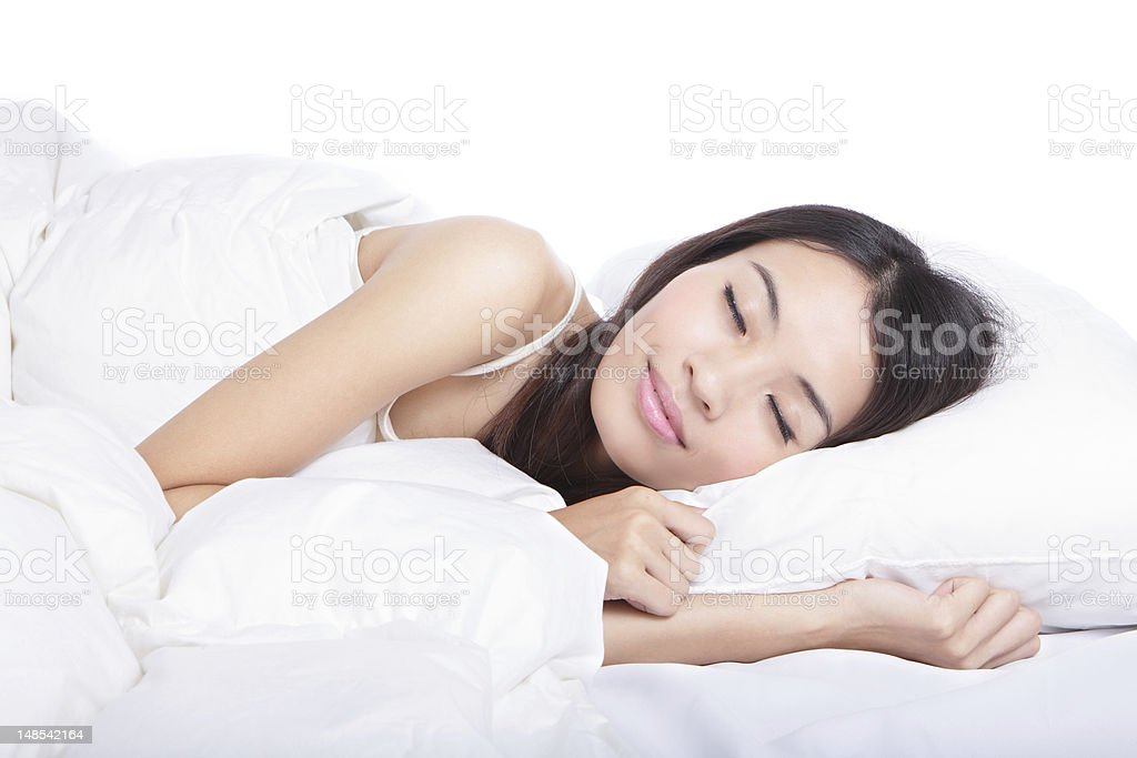 Sleep Girl on bed in the morning stock photo