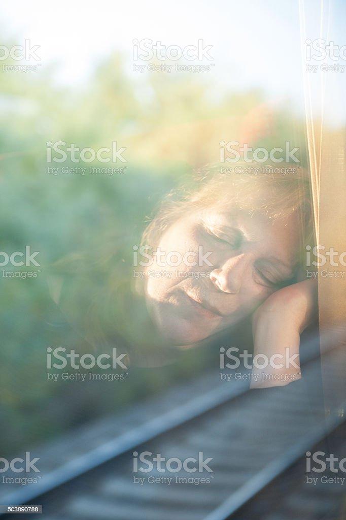 Sleep on the train stock photo