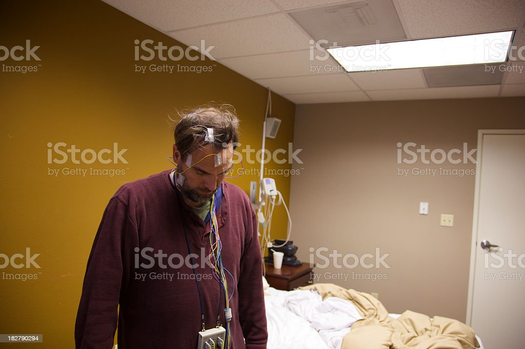 Sleep Study Patient in Room royalty-free stock photo