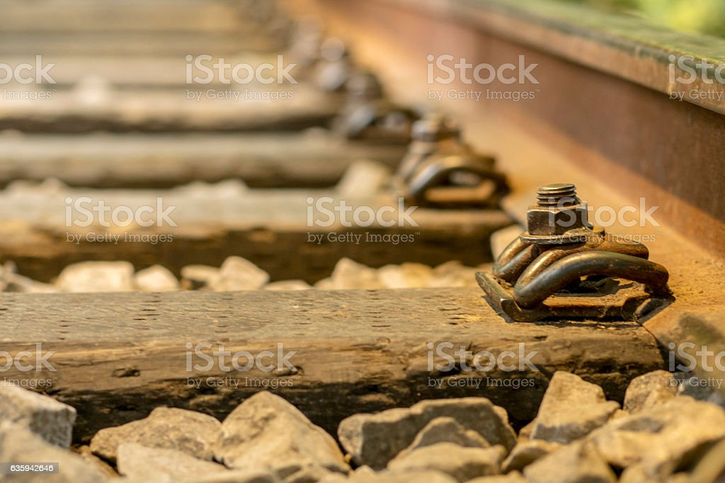 sleepers of railway track stock photo