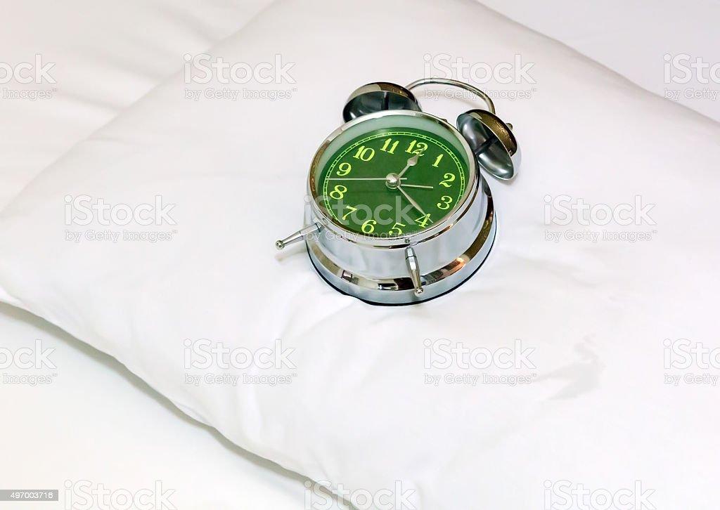 Sleeping alarm clock stock photo