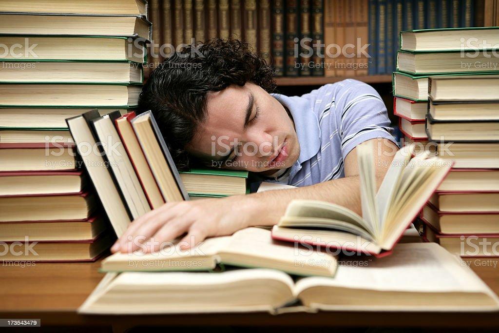 Sleeping at the library royalty-free stock photo