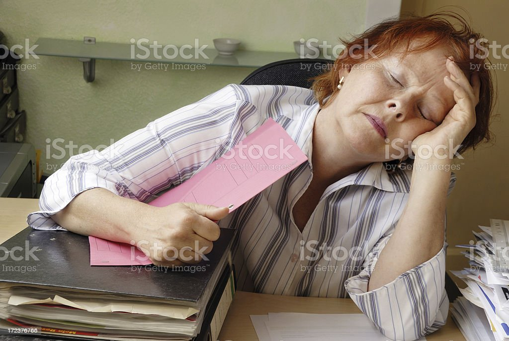 sleeping at the office royalty-free stock photo