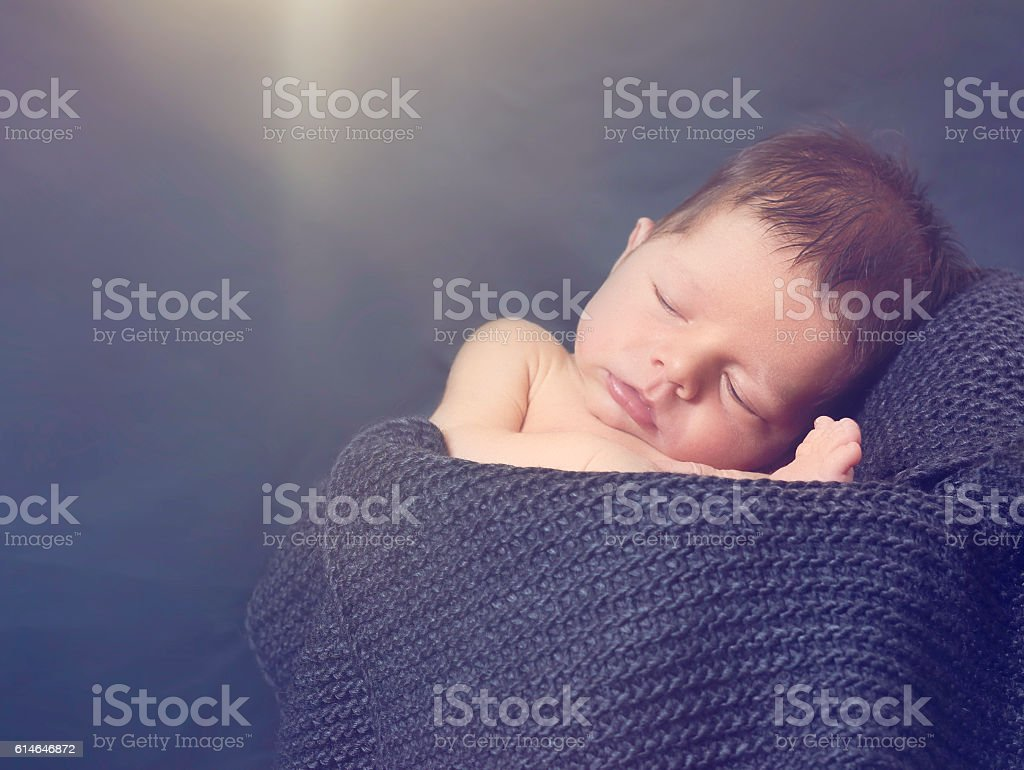 sleeping baby boy stock photo