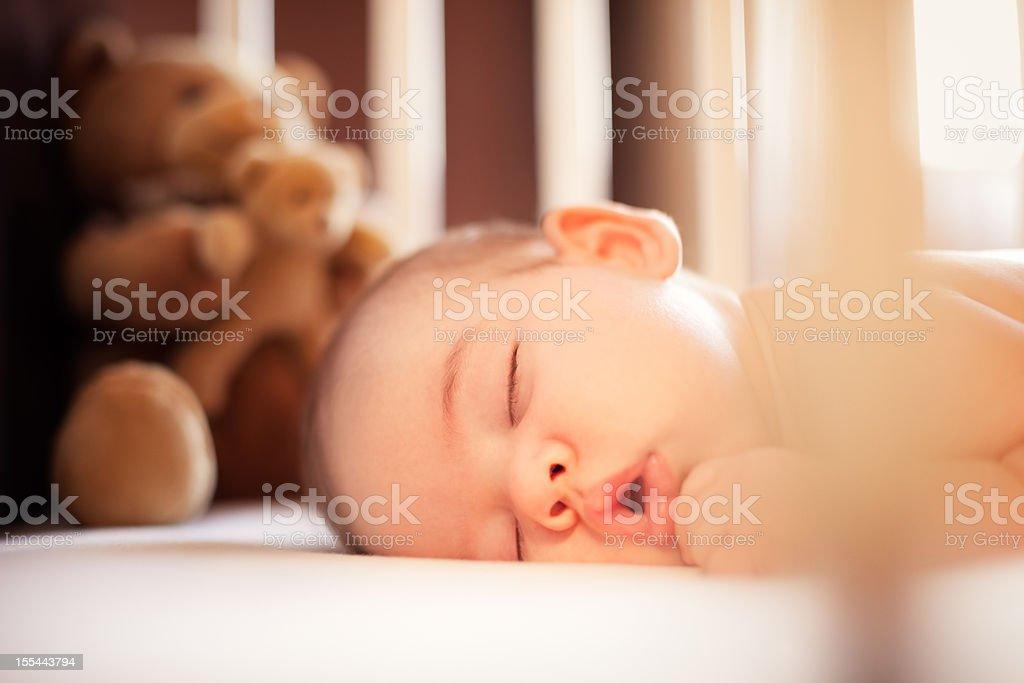 Sleeping baby stock photo