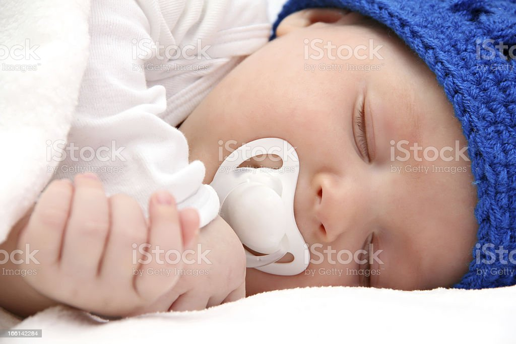 sleeping baby with pacifier closeup royalty-free stock photo