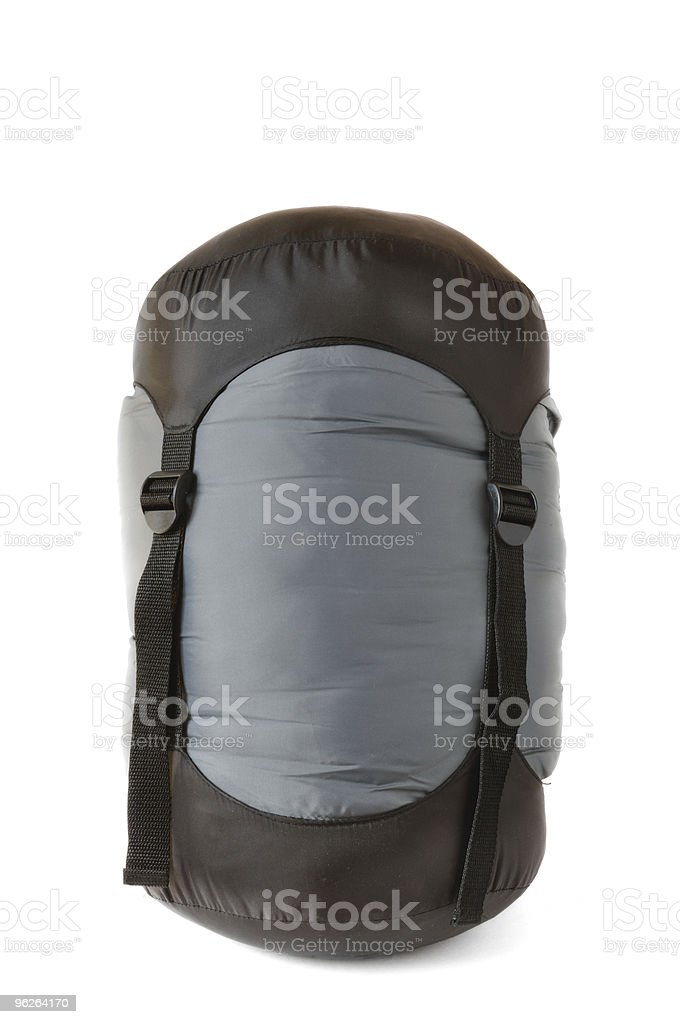 Sleeping Bag in Black and Gray Compression Sack stock photo