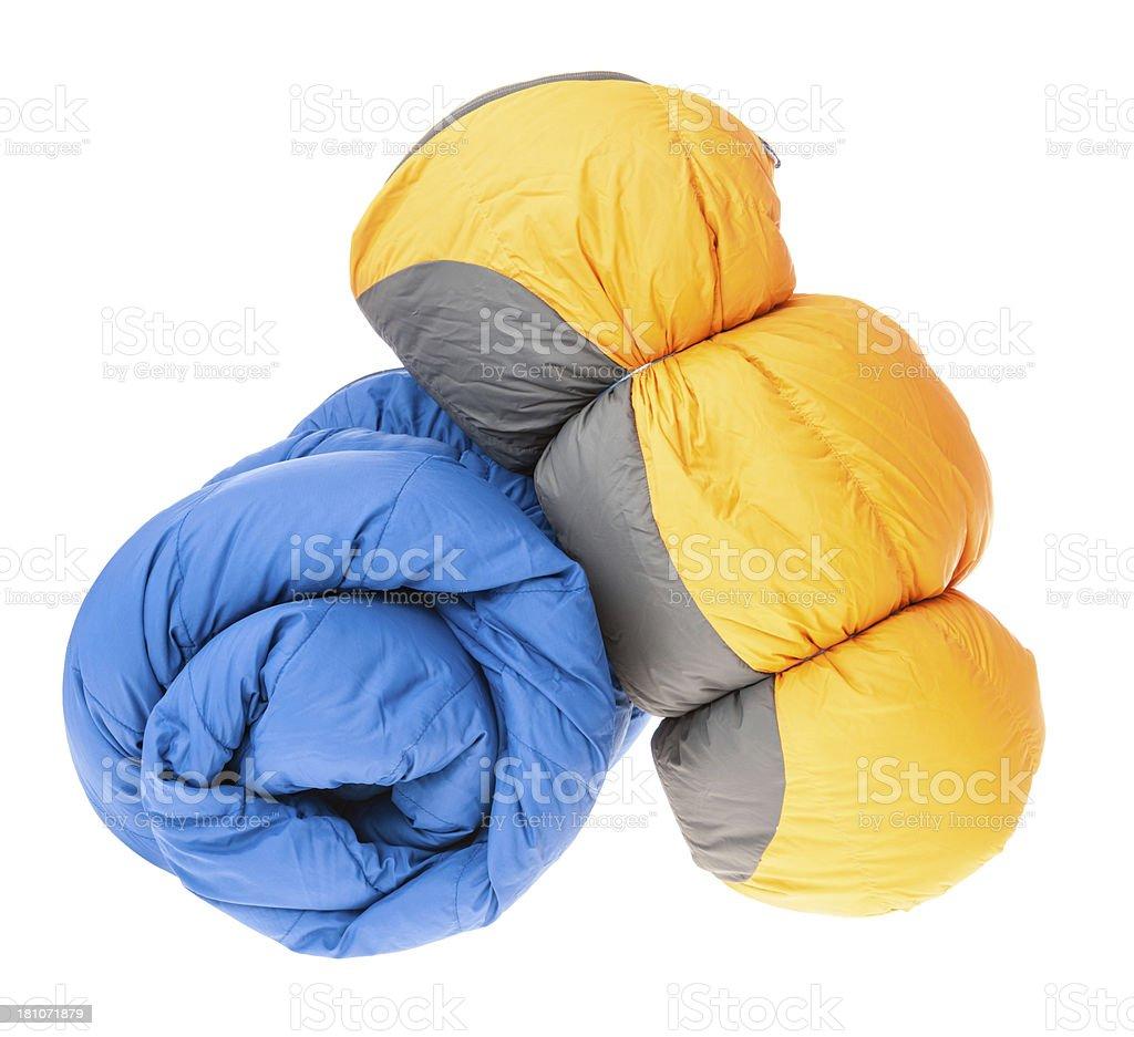 Sleeping bags stock photo