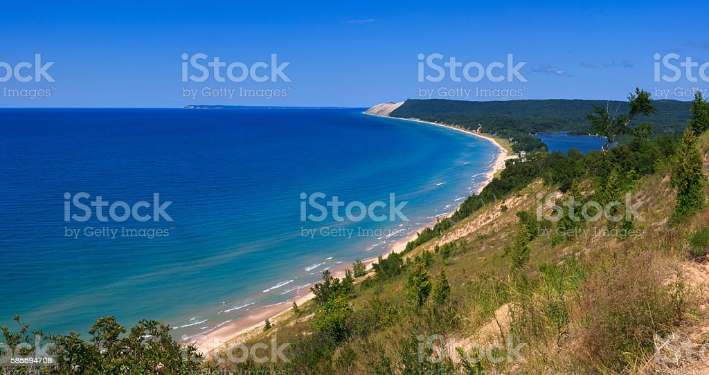 Sleeping Bear Dunes National Lakeshore from Empire Bluff stock photo