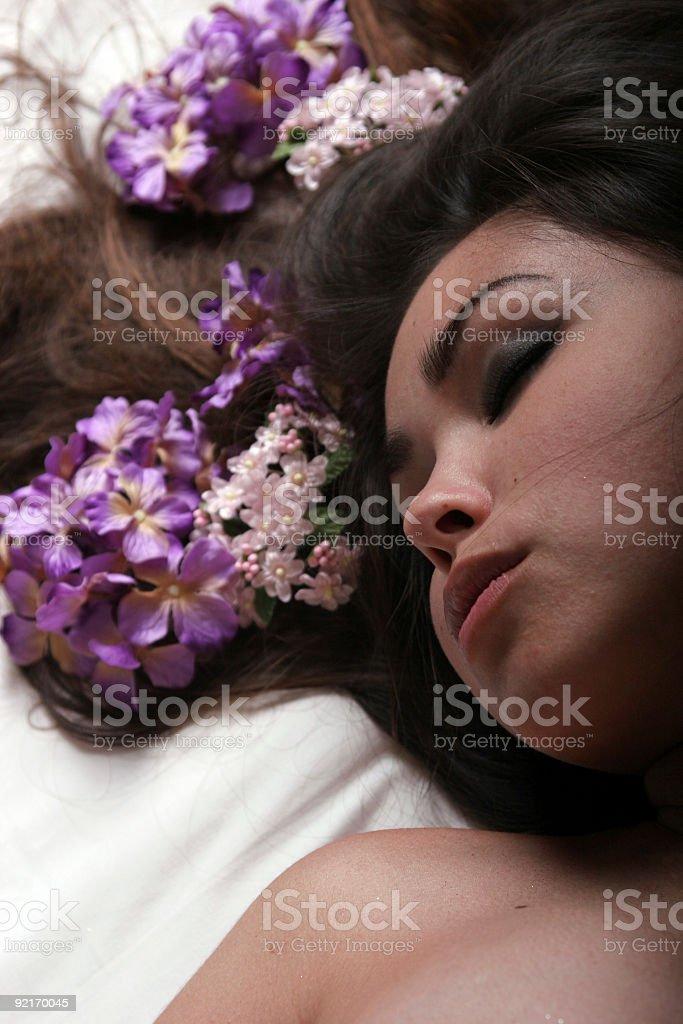 Sleeping beautiful Asian girl royalty-free stock photo