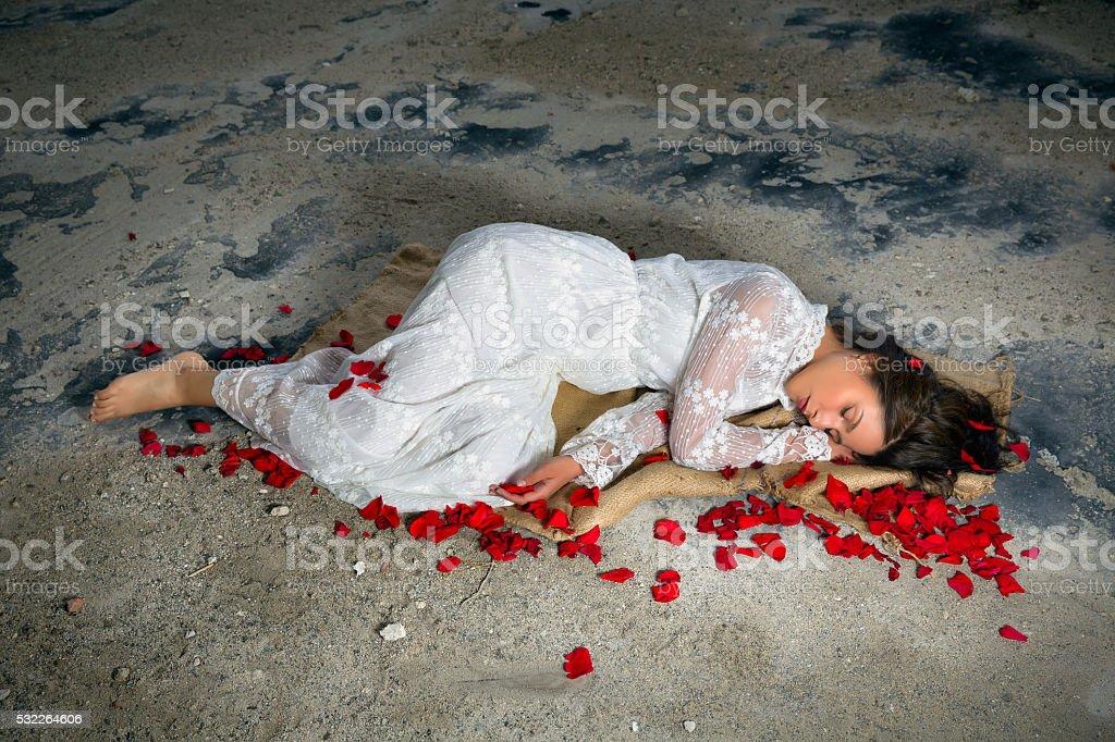 Sleeping beauty alone stock photo