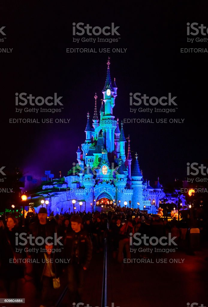 Sleeping Beauty Castle symbol Disneyland Paris night with main street stock photo