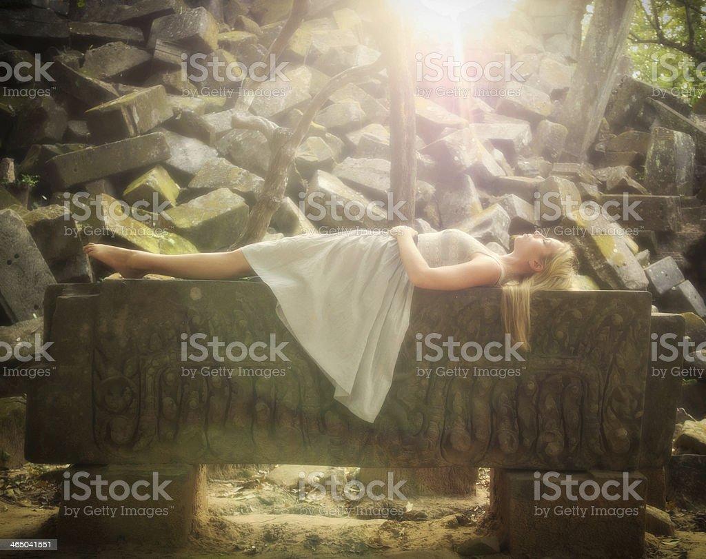 Sleeping Beauty Fairytale Princess stock photo