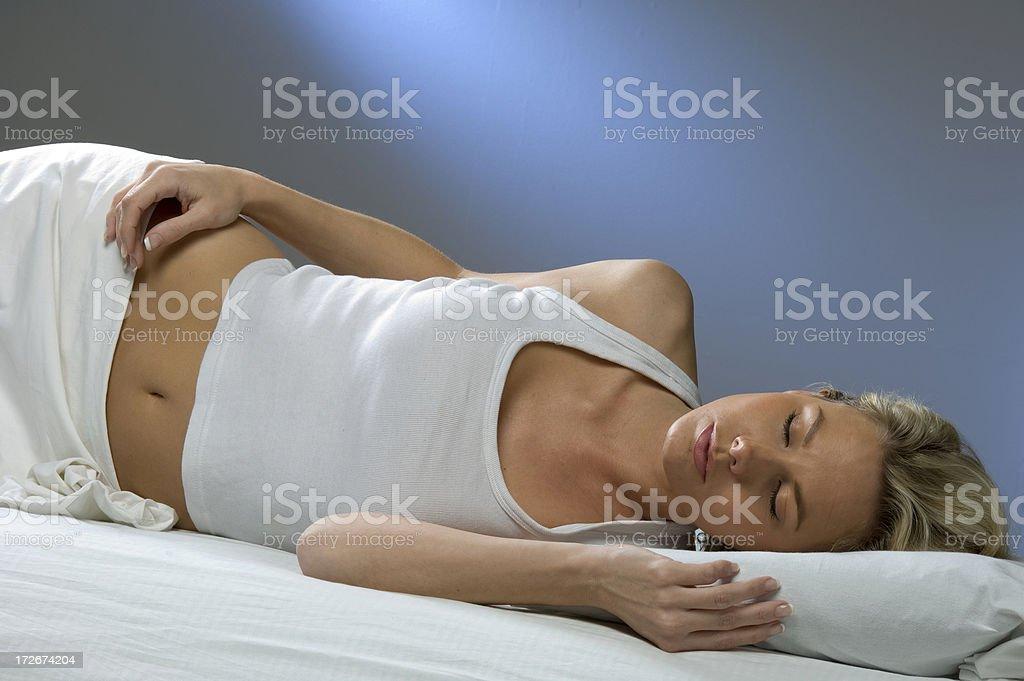 sleeping blond woman royalty-free stock photo