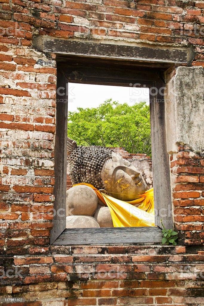Śpiąca posąg Buddy zbiór zdjęć royalty-free