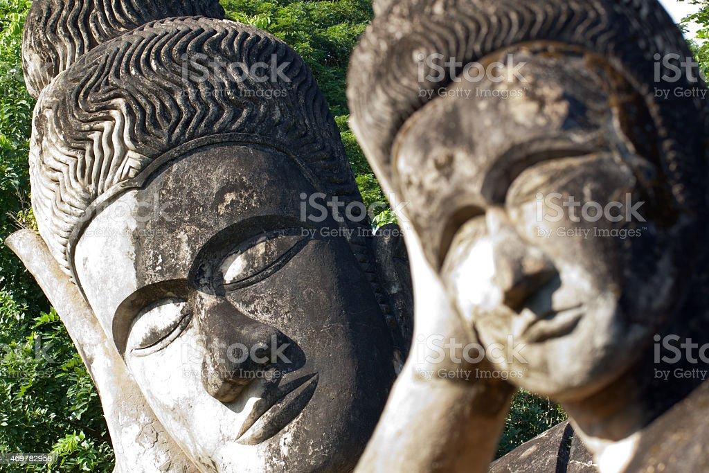 sleeping buddhas stock photo